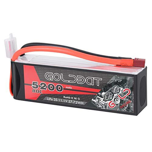 GOLDBAT 11.1V 5200mAh RC Batterie 80C 3S Lipo RC Batterie Softcase mit Dekanen T Stecker für RC Auto Evader BX LKW Boot Hubschrauber Hubschrauber RC Truggy Buggy Autorennen Hobby
