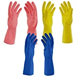 Primeway® Medium Natural Rubber Flock Lined Hand Gloves Set, Pack of 3 Pairs...
