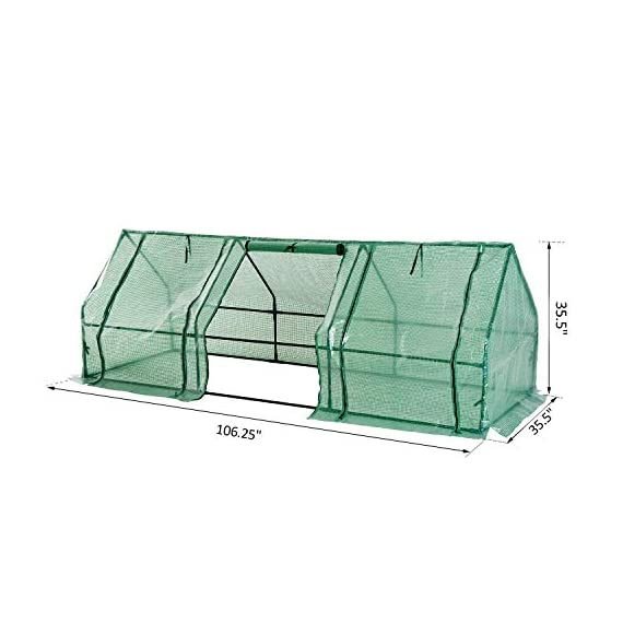 Outsunny 9' l x 3' w x 3' h portable tunnel greenhouse outdoor garden mini hot house with large zipper doors, water/uv… 8 ✅protect plants from the elements: bring all of your plants together in a unified and protected space with our garden greenhouse. Having everything in one place means our plant nursery helps you manage and grow your plants, fruits, vegetables, and flowers all year round. ✅updated design with 3 large doors: the 3 side doors of our plant nursery can be completely opened and rolled up with ties, thereby making a larger space & creating better ventilation. ✅let and keep the good stuff in: this small hot house features a pe mesh grid cover that is sun and water fighting to help protect plants while allowing nourishing sunlight to pass through. Furthermore, the cover helps retain heat during colder months.