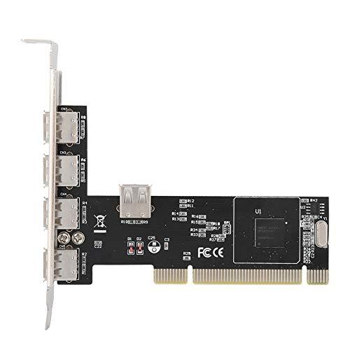 Tonysa PCI op 4 + 1 USB-uitbreidingskaart, 480 Mbit/s MS-uitbreidingskaart, PCI 32-bits bus 33 MHz uitbreidingskaart voor Windows 98SE / Me / 2000 / XP/NT 4.0 / XP 64-Bit/Vista/Linux/Mac
