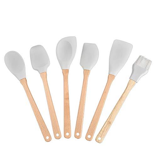 6 unids Conjunto de Utensilios de Silicona con Asas de Madera Herramientas de Cocina de Silicona Flexibles antiadherentes antiadherentes Utensilios de Cocina Utensilios de Cocina Utensilios de Cocina