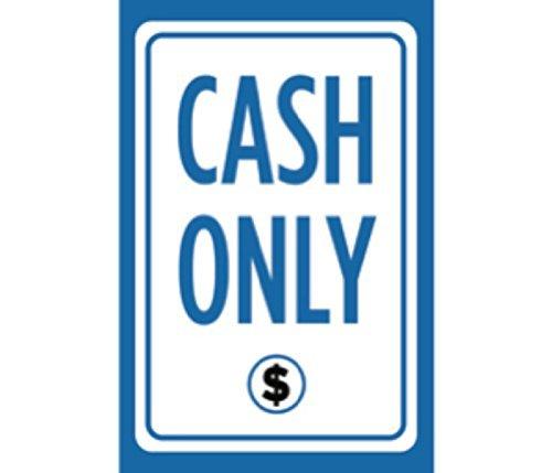 sfv0c7 Cash Only Druck Blau Weiß Schwarz Bild Symbol Kassierer Poster Kundenservice Notice Store Front Business Schild
