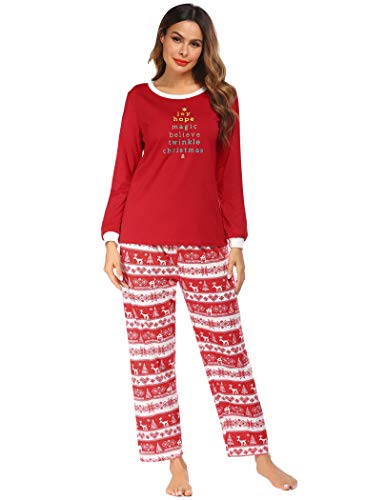 Ekouaer Women's 2 Piece Long Sleeve Cotton Christmas Pajamas Flying Reindeer Sleepwear Set, Red, Medium