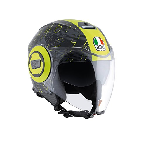 AGV Casco Moto Fluid E2205Top, Ibiscus Gunmetal/Yellow, L