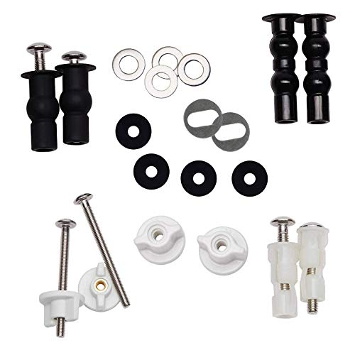 iFealClear Universal Toilet Seats Screws and Bolts, 5 Choice Fixings Expanding Rubber Top Fix Nuts Screws for Top Mount Toilet Seat Hinges, Easy to Install- Toilet Seat Replacement Parts Kit(Metal)