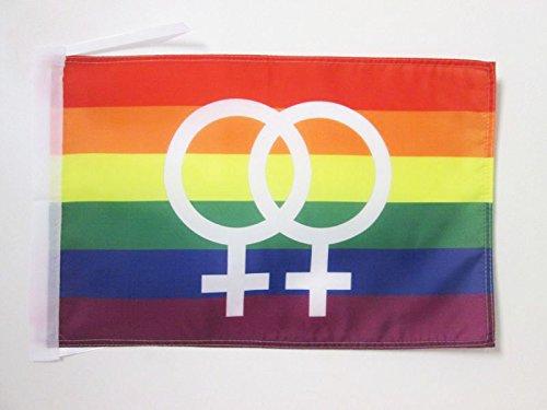 AZ FLAG Flagge Regenbogen DOPPELTER GROßER GEKOMMENE 45x30cm mit Kordel - LESBE Fahne 30 x 45 cm - flaggen Top Qualität
