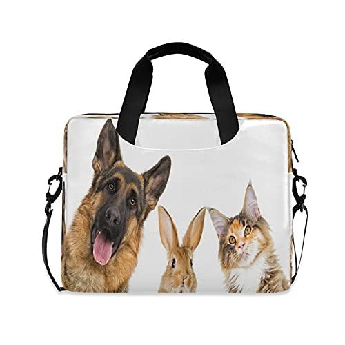 CCDMJ Laptop Case Animal Cat Dog Bunny Laptops Sleeve Shoulder Messenger Bag Briefcase Notebook Computer Tablet Bags with Strap Handle for Women Man Boys Girls 16 Inch