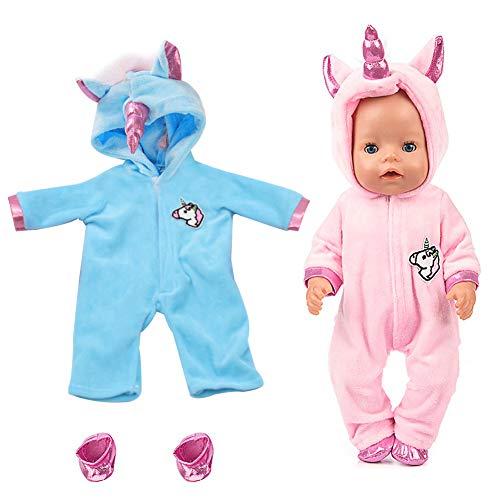 WENTS Disfraz de Unicornio Bebe Baby Born Onesie Unicorn Pelele de muñeca Ropa de Bebe Unicornio para Muñecas de Bebé en Tamaño18 (Rosado/Azul)