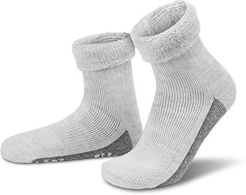 normani ALPAKA Wollsocken mit Alpaka- & Schafwolle sowie rutschfestem ABS-Aufdruck Farbe Hellgrau Größe 43-46