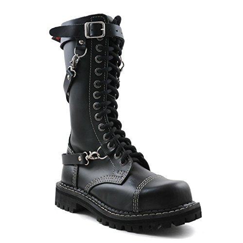ANGRY ITCH - 14-Loch 3 Riemen Gothic Punk Army Ranger Armee Leder Schwarz Stiefel mit RV & Stahlkappe - Größen 36-48 - Made in EU!, EU-Größe:EU-38