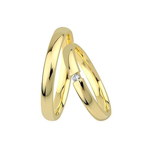 GIORO Ferrara Eheringe Trauringe Hochzeitsringe massiv Gold *handgefasster Brillant Stein* Paarpreis Echtes Gold