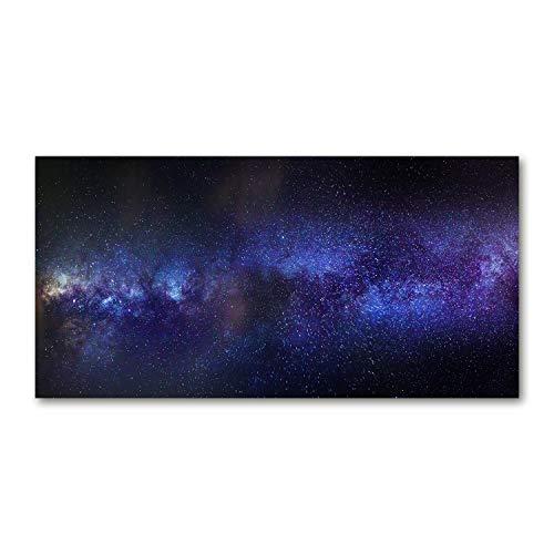Tulup Impresión en Vidrio - 140x70cm - Cuadro Pintura en Vidrio - Cuadro en Vidrio Cristal Impresiones - Cosmos y Ciencia ficción - Púrpura - La Vía Láctea