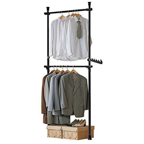 SoBuy FRG109-SCH Teleskop Garderoben System mit 2 Kleiderstangen Kleideraufbewahrungssystem Regalsystem Kleiderständer schwarz