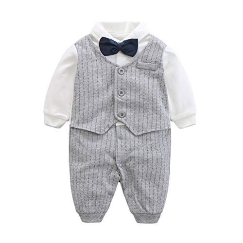 FAIRY BABY Baby Outfits Langarm Strampler Jungen Smoking Baby Baumwolle Gentleman Outfit Bowknot Weihnachts/Taufstrampler Kleidung, 66(3-6 Monate), Grau Streifen