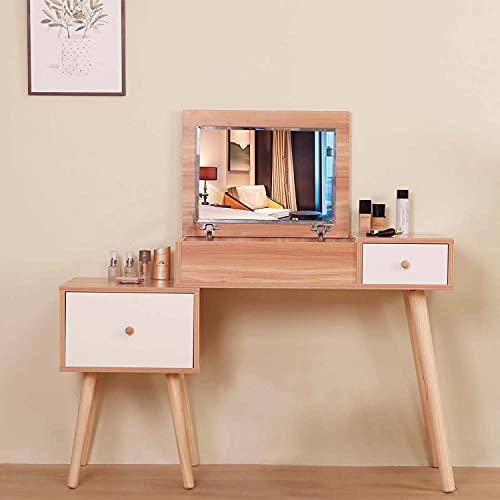 Zoyo Dressing Table Oak Vanity Makeup Desk with Flip Top Mirror, Bedroom Vanity Dressing Table with 2 Drawers and Storage for Girls, Wood Grain Colour