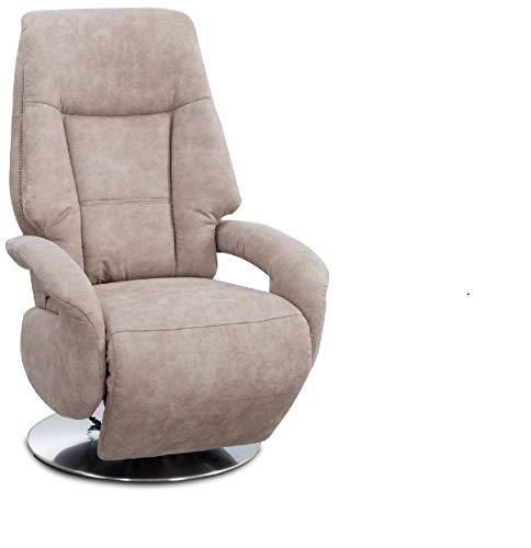 Cavadore TV-Sessel Edinburgh / Fernsehsessel mit Aufstehhilfe & elektrisch verstellbarer Relaxfunktion / 2 E-Motoren / 74 x 114 x 77 / Lederoptik: beige