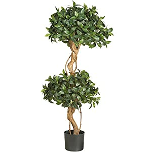 Nearly Natural 5233 Sweet Bay Double Ball Topiary Silk Tree, 4-Feet, Green,49.5″ x 9″ x 9″