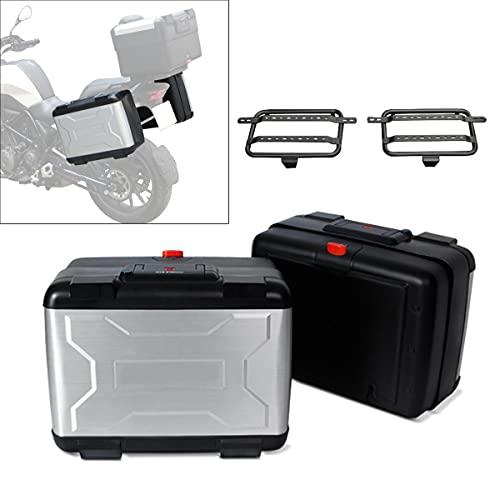 Motorrad Koffer + Kofferträger Universal Bagtecs Vario Seitenkoffer 28-38L silb