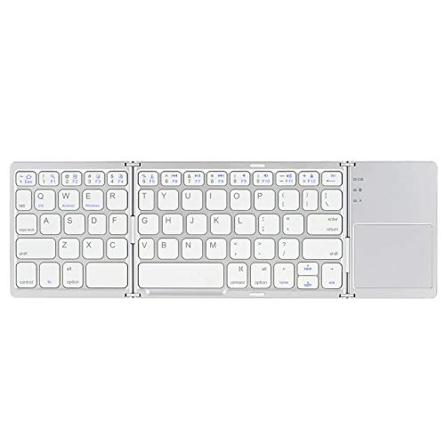 lisansang Wireless KeyboardFoldable Folding BT Wireless Keyboard With Touchpad For IPhone 6s/iPad Pro/MacBook Mobile Phone Tablet PCLaptop (Size:Free Size; Color:Silver)