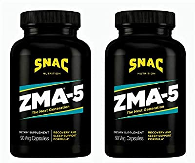 SNAC ZMA-5 with 5-HTP Recovery and Sleep Supplement That Supports a Healthy Immune System, 180 Capsules (2 Pack of 90 Count)