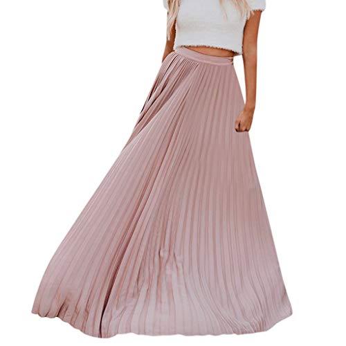 Xmiral Damen Faltenrock Hohe Taille Vintage Falten Vintage Lose Strand Wrap Knöchellänge Polyester Kleid(M,Rosa)