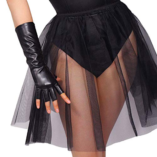 DooWay LONG Faux Leather Half Finger Gloves Shiny Black Over Wrist 11-inch PU Fingerless Gloves for Motorcycle Driving Halloween Party