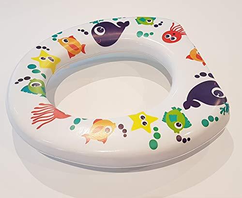 Asiento de inodoro acolchado para niños, se adapta a cualquier inodoro, diseño de peces