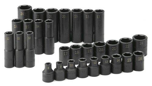 SK Hand Tool 4053 Impact Socket Set – 30 piece Standard Deep Metric Assortments, Rust Preventive. Laser Engraved Fractional Accessories