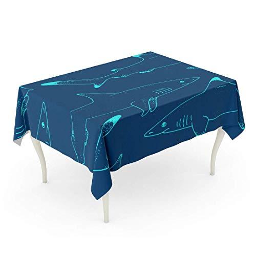 LIS HOME Mantel Rectángulo Patrón Azul Tiburón Salvaje Vida Animal Salvaje Bosquejo Depredador Peces Peligrosos Libro para Colorear Mantel Acuático Agresivo