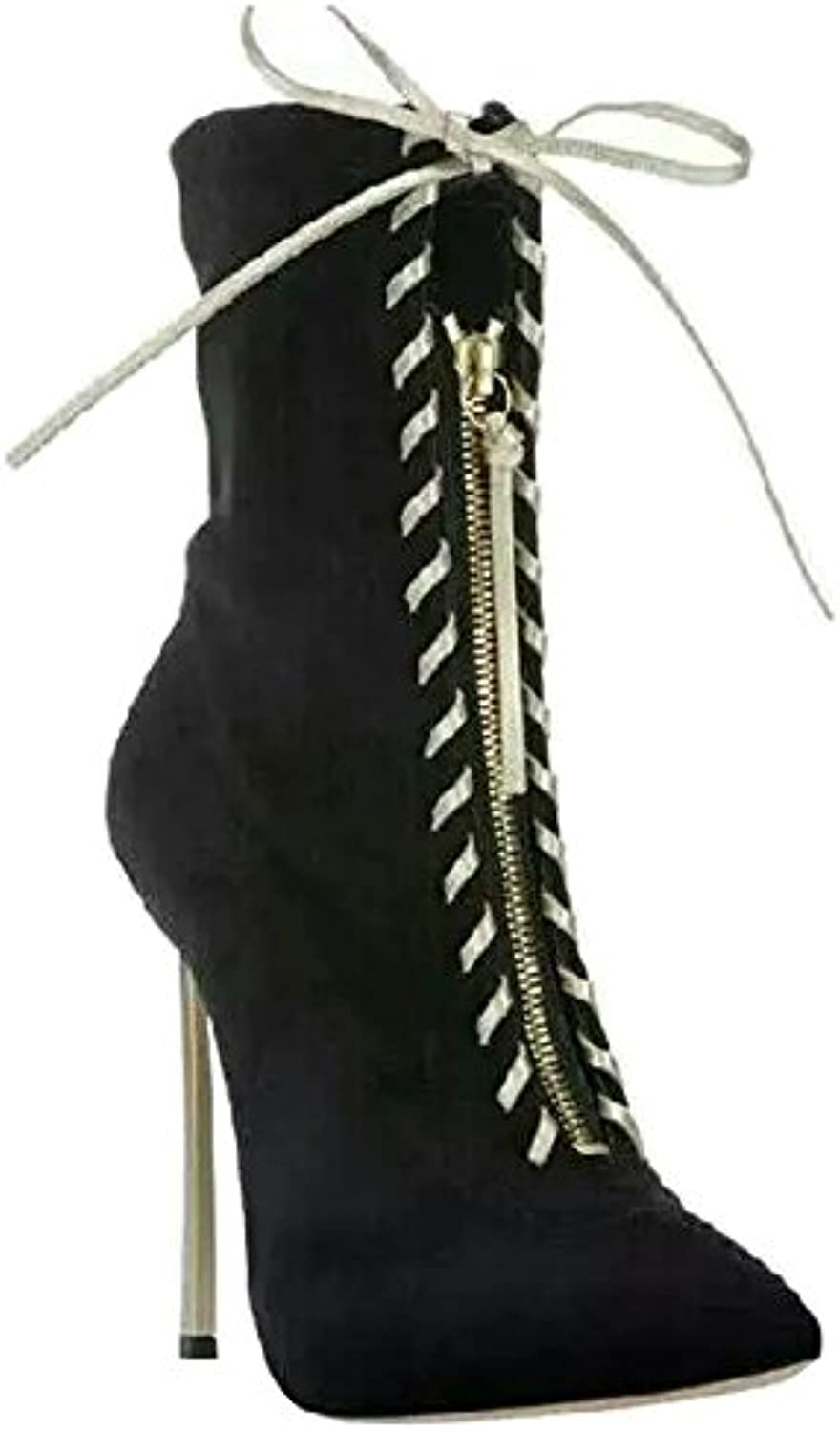 TDA Women's Pointed Toe Gladiator Strappy Zipper Lace Up Suede Evening Party Dress Sexy Stiletto Mid-calf Boots