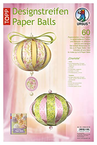 Ursus 23560099 Designstreifen Paper Balls Charlottre, Material für bis zu 8 Paper Balls, Durchmesser ca. 10 cm, 60 Streifen mit Zubehör, ideal zum Basteln von individuellen Weihnachtskugeln
