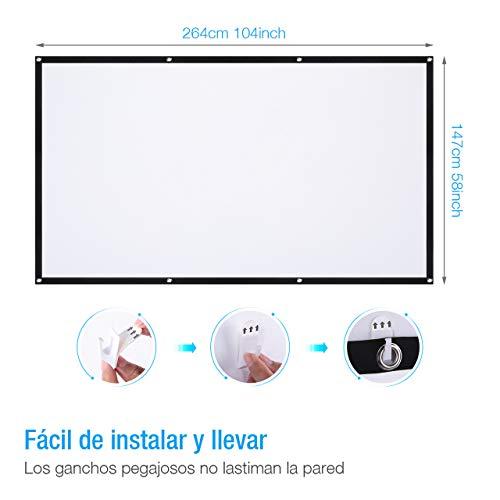 Powerextra Pantalla de proyector 120 Inch 16: 9 HD Plegable ...