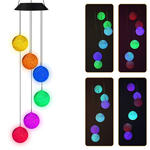 CheerMaker Wind Chimes Outdoor, Color-Changing Waterproof Mobile Romantic Solar Powered Crystal Balls Wind Chimes Led Lights for Home, Indoor, Yard, Patio, Night Garden, Party, Festival Decor