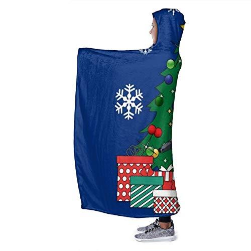 "Haushalt Wohnen Bettwäsche Hooded Blanket Grey Santa Claus Christmas Matata Moon Silhouette Super Soft Fleece Flannel Throw Blanket Hoodie Fit Bed Sofa Wearable for Kids Women Men 50\""X40\"""