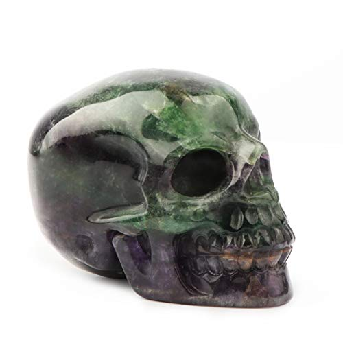 Artistone 3.0' Skull Stone Statue, Hand-Carved and Polished Healing Crystal gem Collection, Aura Healing Stone with Gift Box (Green Agate)