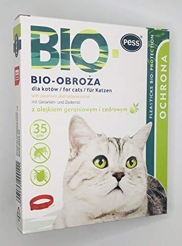 PESS Garrapatas y pulgas orgánicos para gatos con aceite natural de geranio y cedro, 35 cm
