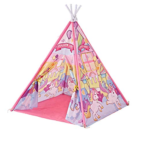 Tents Indian Teepee, Cartoon Play, Girl's with Unicorns, Boy's has Astronauts - Yurt for Kids (Color : Pink, Size : 120 * 120 * 142CM)