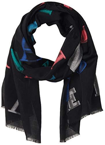 Emporio Armani Damen Cotton-Blend Scarf with Logo Detail Modischer Schal, schwarz, Einheitsgröße