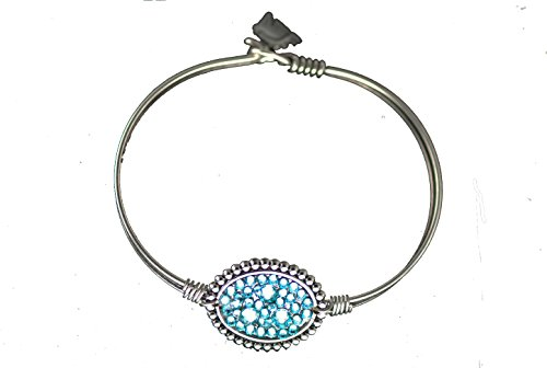 The Finishing Touch of Kentucky Beaded Edge Oval Light Turquoise Swarovski Crystal Wire Bangle Bracelet