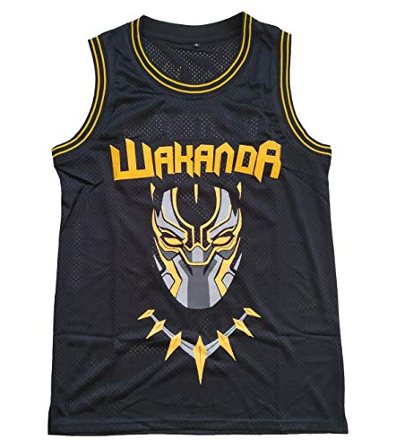 Supereasydeal #2 Black Panther Wakanda Killmonger Movie Basketball Jersey Men Black (Black, Small)