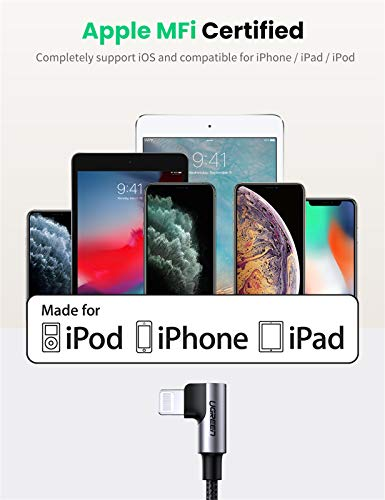 UGREEN USB-C auf Lightning Kabel 90 Grad MFi Lightning Ladekabel Typ C Winkel Power Delivery kompatibel mit iPhone 12, SE, 11 Pro Max, XR, XS Max, X, 8, 8 Plus, iPad 2020, AirPods Pro usw. (2M)