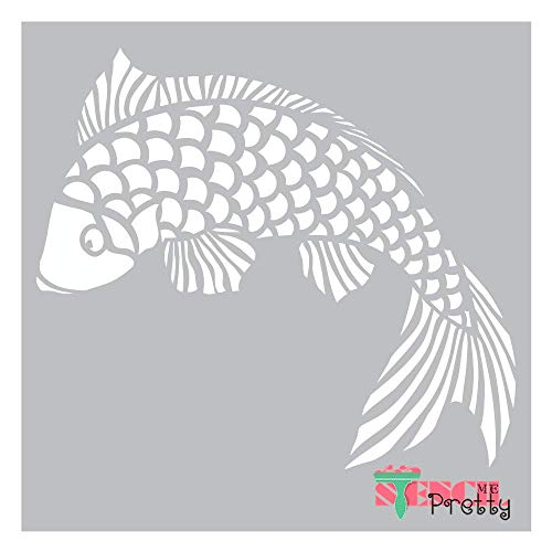 "Chinese Goldfish Stencil - DIY Art Template Best Vinyl Large Stencils for Painting on Wood, Canvas, Wall, etc.-XS (11"" x 9.5"")