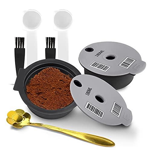Kapsułki do kawy wielokrotnego użytku do ekspresu Bosch Tassimo do wielokrotnego napełniania kapsułki kubki z silikonową pokrywą filtr do kawy wielokrotnego napełniania z czytelnym kodem kreskowym (2 sztuki szare 180 ml)