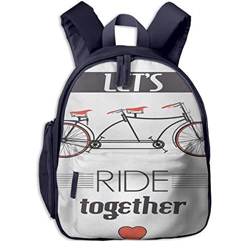 Kinderrucksack Doppelte Fahrrad Bild Zitat Babyrucksack Süßer Schultasche für Kinder 2-5 Jahre