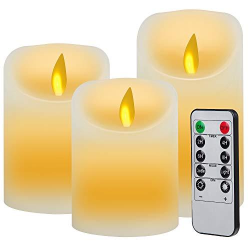 3pcs Velas LED con Mando a Distancia de 10 Botones(Temporiza