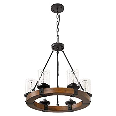 6-Light Farmhouse Pendant Lighting Wood Chandeliers, Candle Pendant Light, Glass Lodge and Tavern Wood Kitchen Island 360W Max(Bulb Not Included)