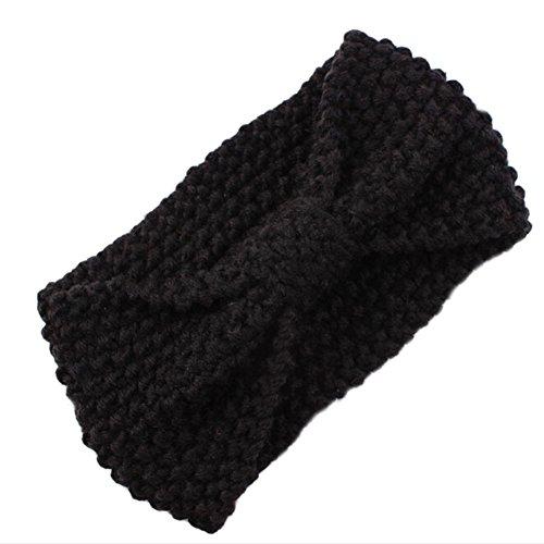 DELEY Femmes Filles Hiver Crochet Tricot Arc Turban Headwrap Bandeau Enveloppement de la Tête de l'Oreille Chaud Noir