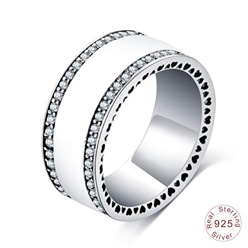 Damen 925 Sterling Silber Ring, Weiß Emaille Perlglanz Herzen Zirkon Breite Neuheit Fingerringe Für Frauen Liebhaber, Hochzeitstag Engagement Ewigkeit Brautschmuck Festival Geschenk