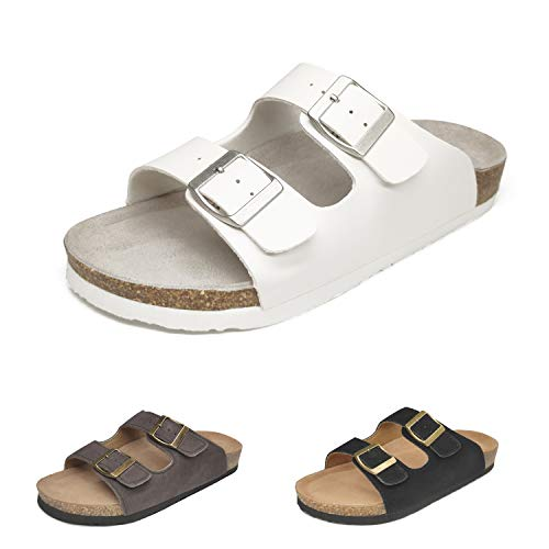 Womens Sandals Cork Footbed Sandal for Men Arizona Slides with 2-Strap Adjustable Buckle Summer Beach Slip on Outdoor Casual Shoes Comfortable Black Brown White US 4-15,WH44