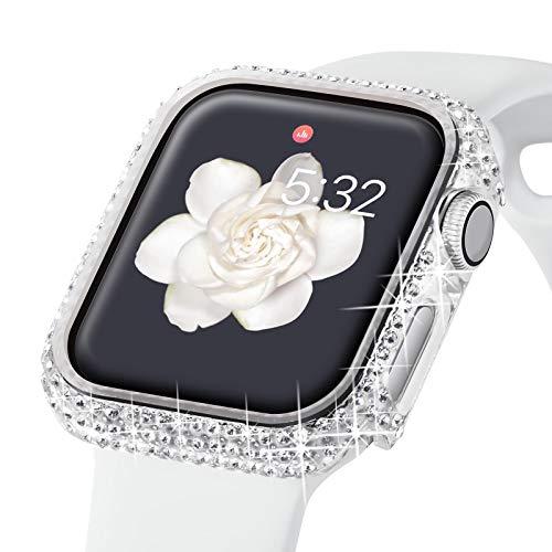 KADES Bling Cases Compatible con Apple Watch Series 3 de 38 mm, 2 1 Marco protección diamante brillante para mujeres y niñas Smartwatch Decoración (transparente)